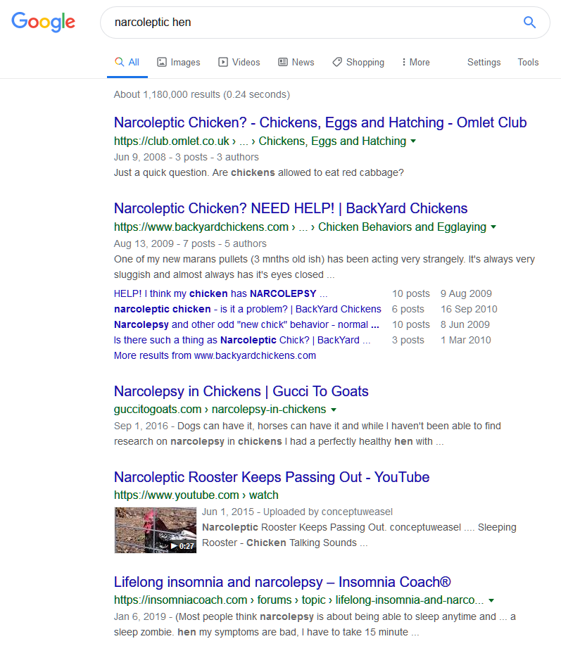 "A November 2019 Google search result showing Our Albion nowehere to be seen in a search for ""narcoleptic hen""."