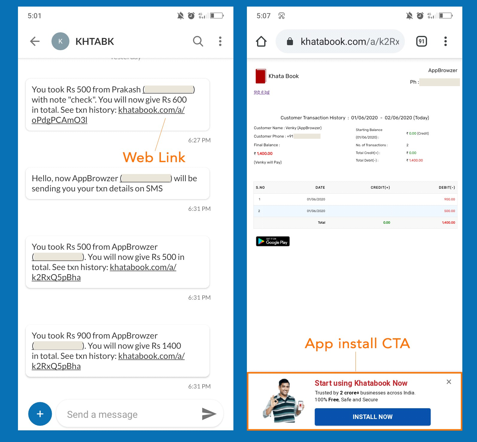 Growth Hacking - Khatabook transaction SMS with a link to web page with App Install CTA