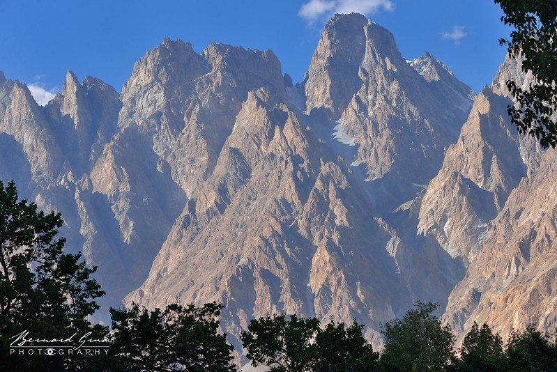 Passu Cones (also called Passu Cathedral), 6 106 meters, from next to Cathedral View Restaurant—Photo Bernard Grua