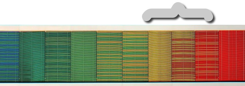 """Same heat color spectrum with a bracket indicating a range on the """"fast"""" spectrum."""