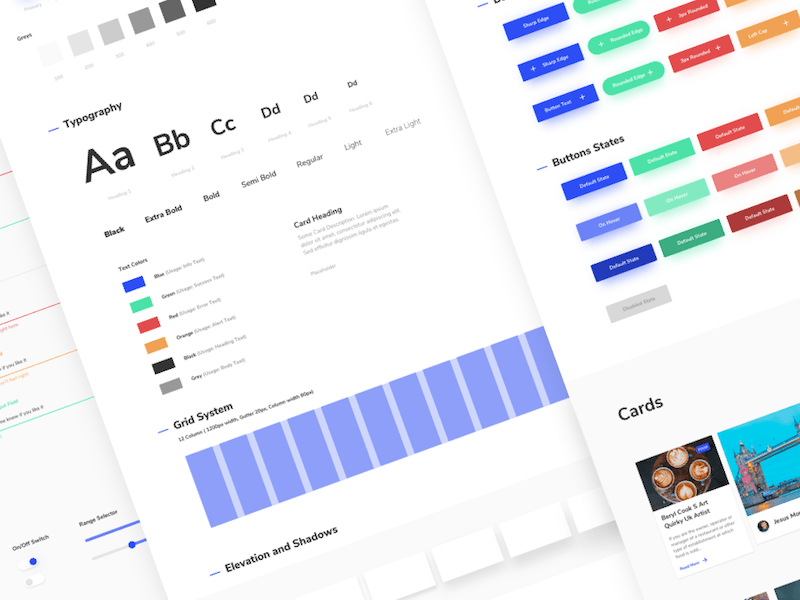 All different components make a design system, this image shows a group of components from a designers perspective.