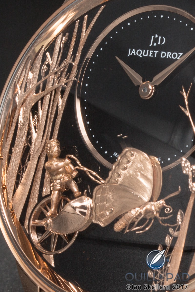 Dial detail of the Jaquet Droz Loving Butterfly