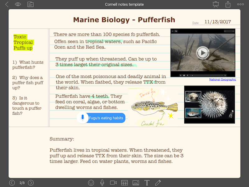 Cornell Notes Template biology