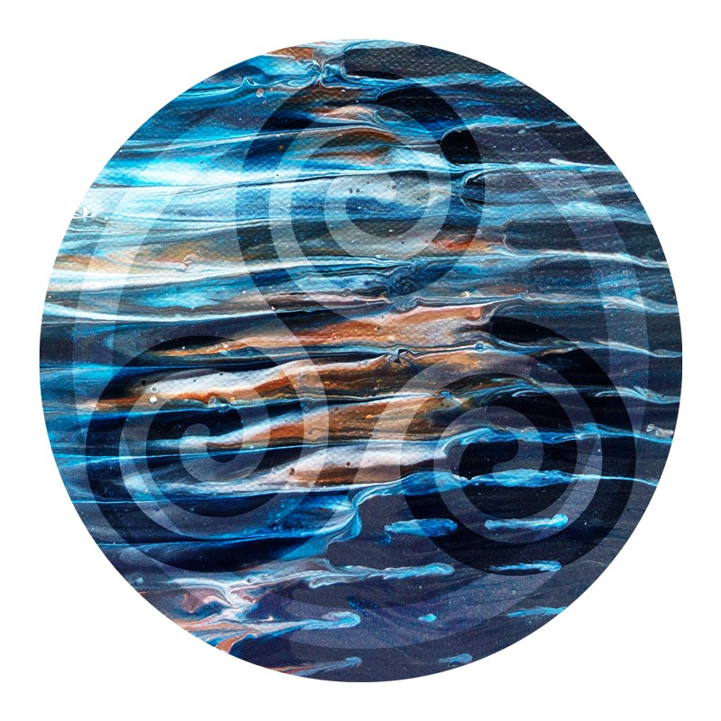 Spiral on an image of reflective water—grief's spiral