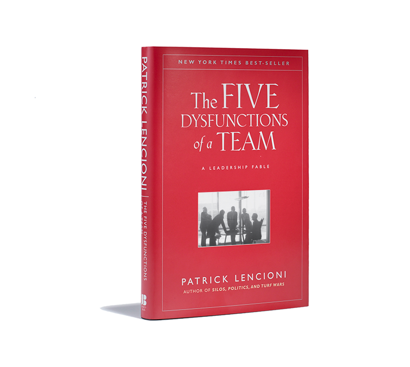 The book cover of the five dysfunctions of a team