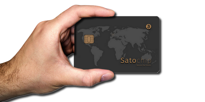 Satochip Bitcoin hardware wallet on a smart card.