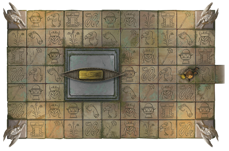 A top view of I'jin's tomb, including sphinxes, a sarcophagus, and a heiroglyphic floor.