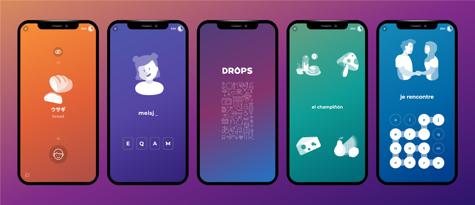 Five phones displaying different pages from Drops