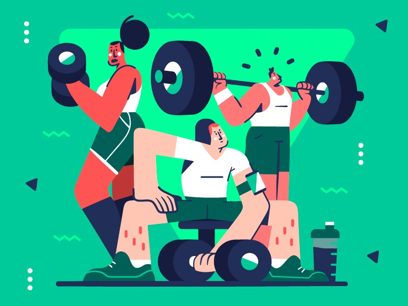 Gym time illustration by Gaspart in iconscout design inspiration blog