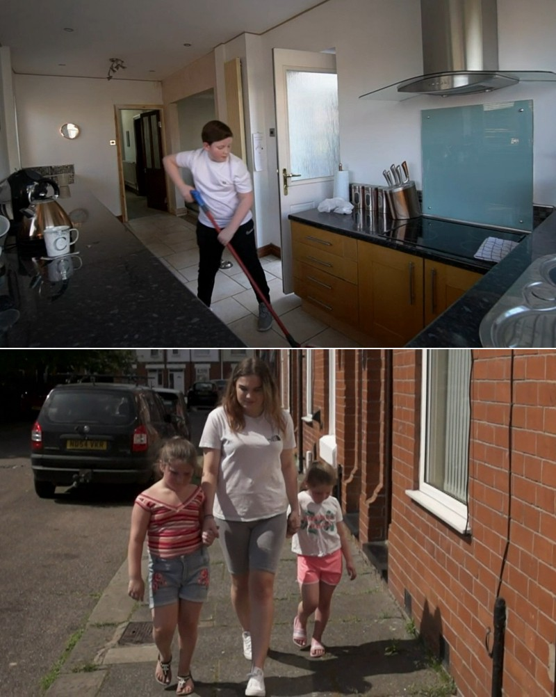Finlay cleaning the kitchen, Danielle walking on the street with her two younger sisters
