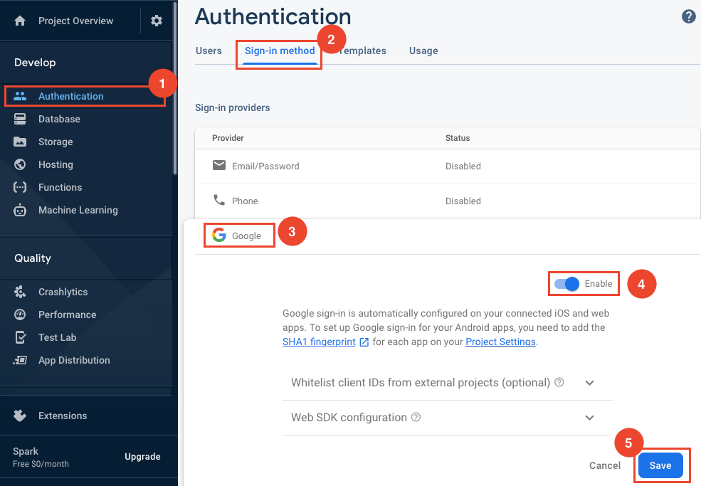 Enable Google Sign-in for Firebase Authentication