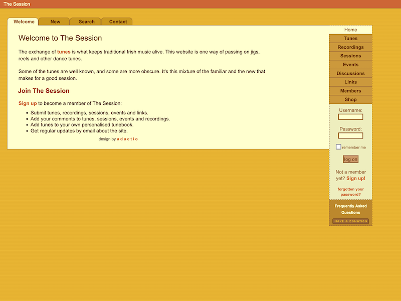 A screenshot of the second version of The Session