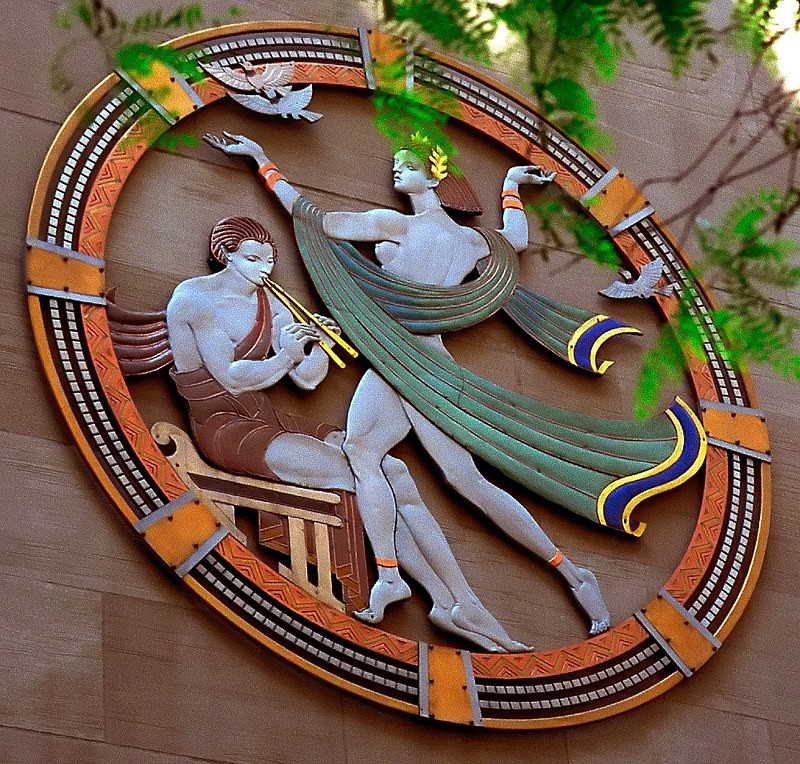 "(Photographed by David Ohmer via flickr.com profile.) ""Song"" medallion by Hildreth Meière on RCMH facade."