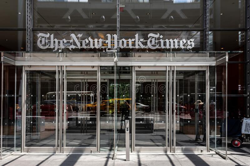 The entrance to the New York times headquarters