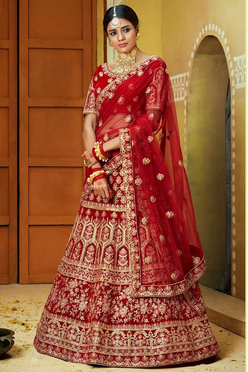 Top 21 Red Lehenga For Bride In Different Design By Fabja Medium