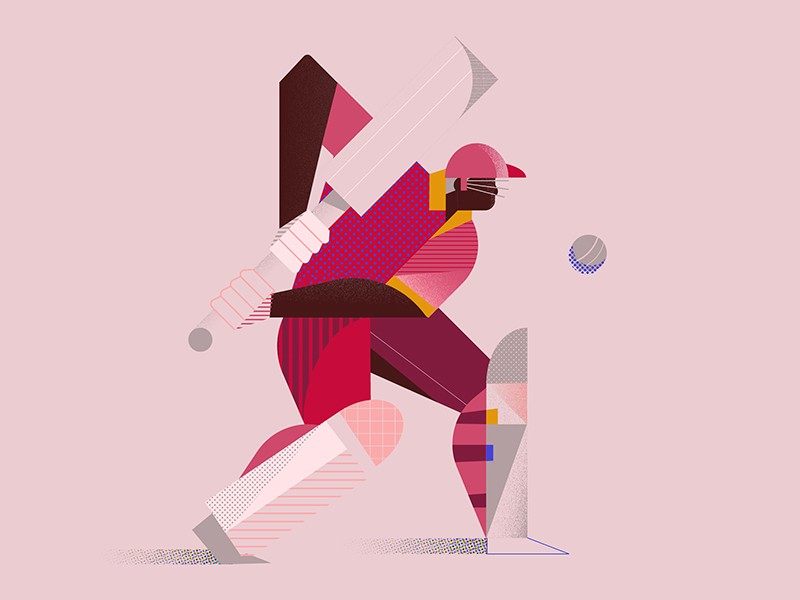 West indies cricketer illustration by Janelle Cummins for design inspiration