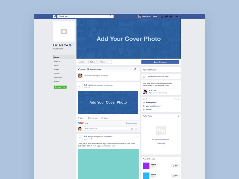 Facebook page layout blank hamle. Rsd7. Org.