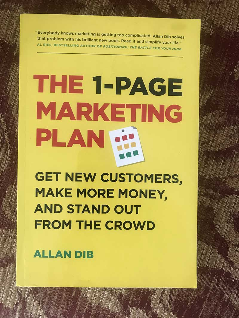 The one page marketing plan book cover