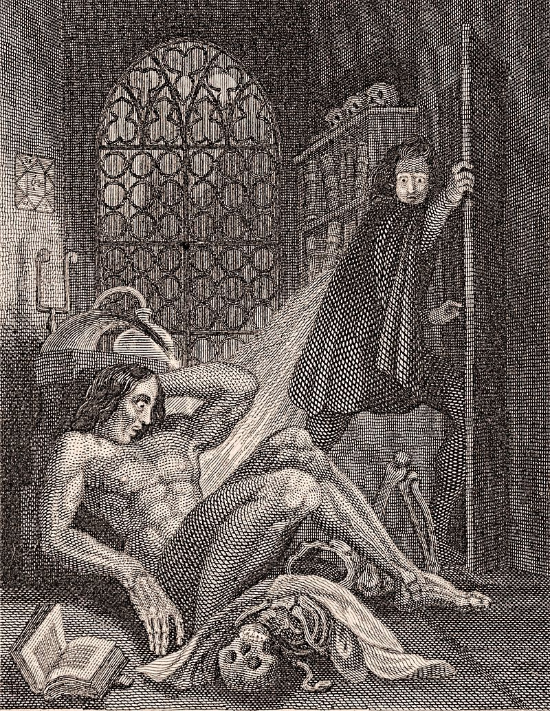An engraving depicting Victor Frankenstein discovering that his monster lives.