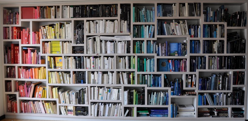 A nice, huge bunch of books organized by color.