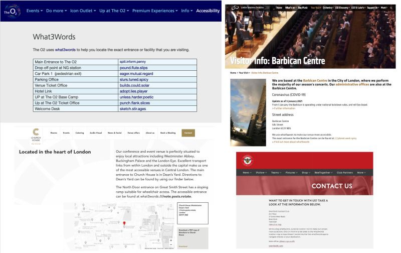 Screenshots of a variety of websites including The O2 and London Symphony Orchestra displaying what3words addresses for key entrances or important locations