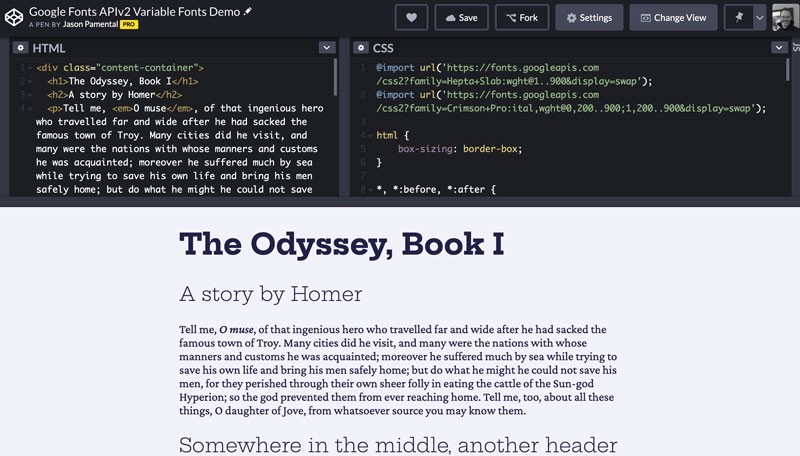 Sample page in CodePen