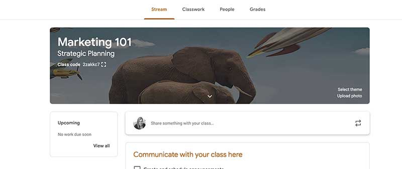 screenshot of Google Classroom