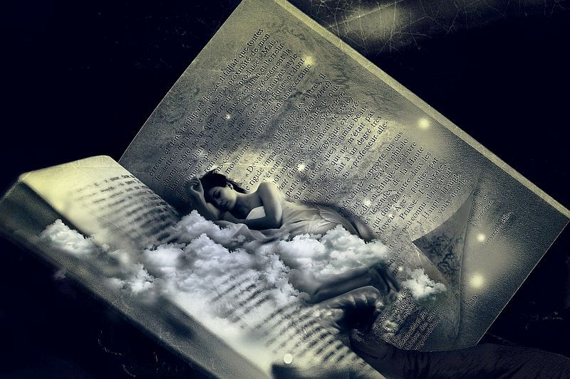 An open book with a sleeping woman dreaming atop a bed of clouds transposed in the center of the book.