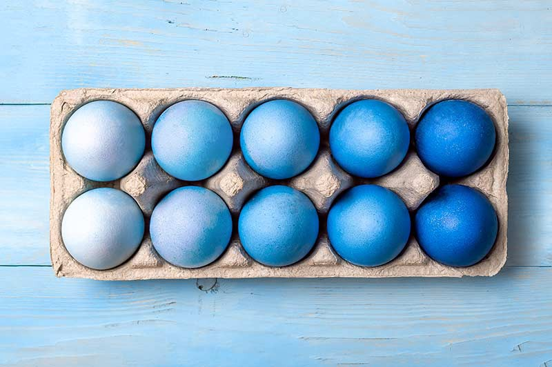 A collection of blue easter eggs for an article about ecommerce easter eggs from Selz ecommerce for growing businesses
