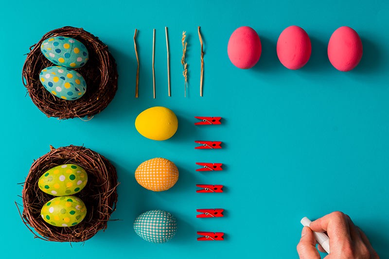 Flat lay of easter eggs for an article full of ecommerce easter egg suggestions