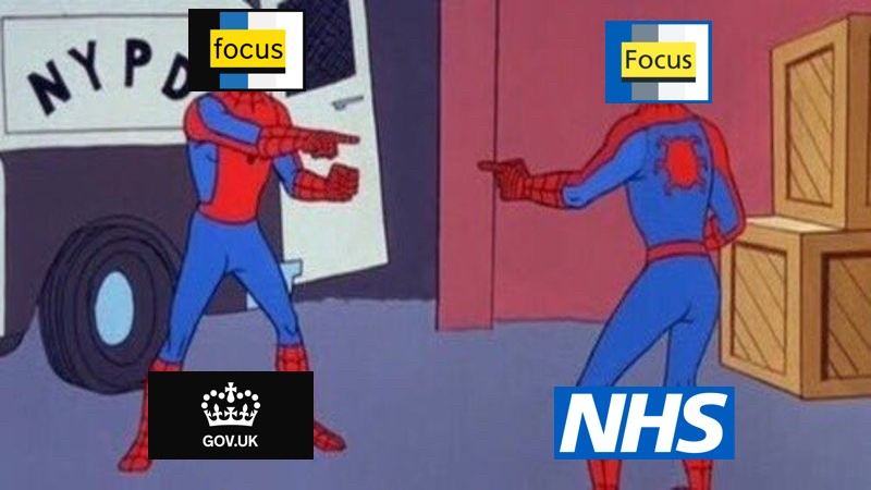 Spider-man with the GOV.UK focus state style pointing at a Spider-man with the NHS.UK focus state style.