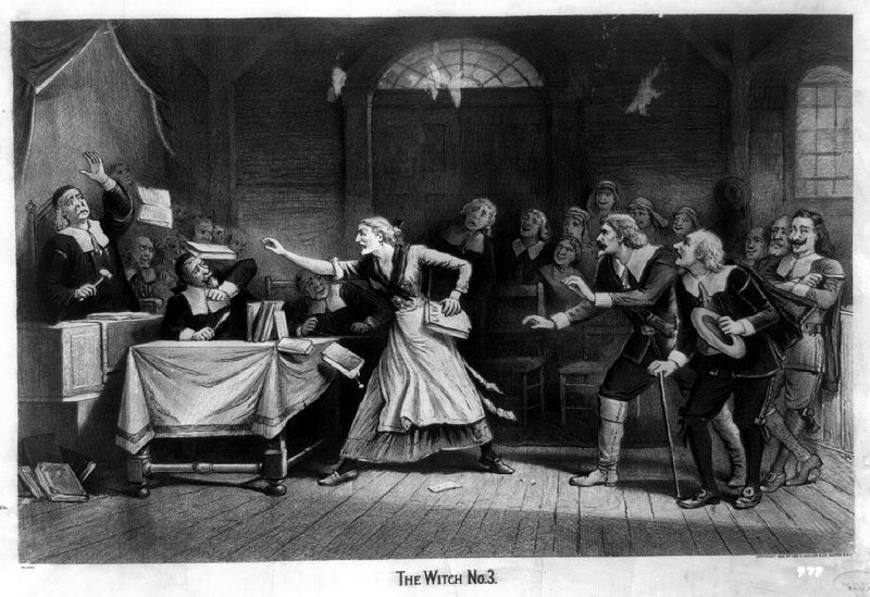 Salem witch trials: an accused witch uses her magic to throw books at the judges