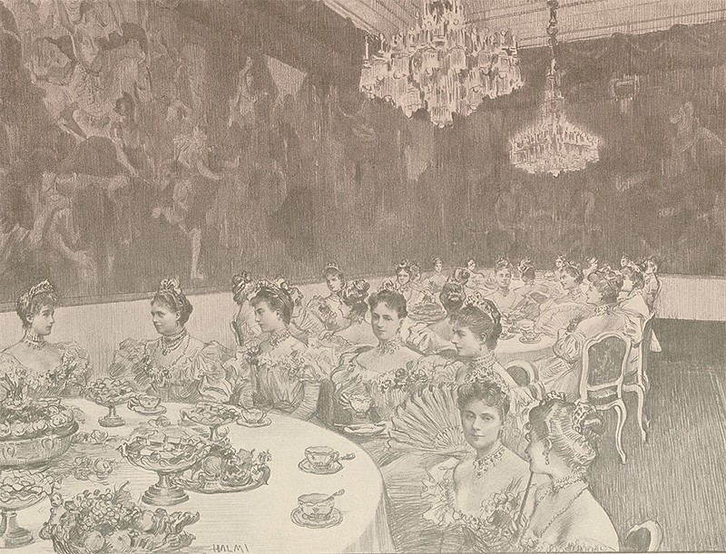 Ladies seated at round tables in the tea salon. The salon features huge wall-size paintings and crystal chandeliers.