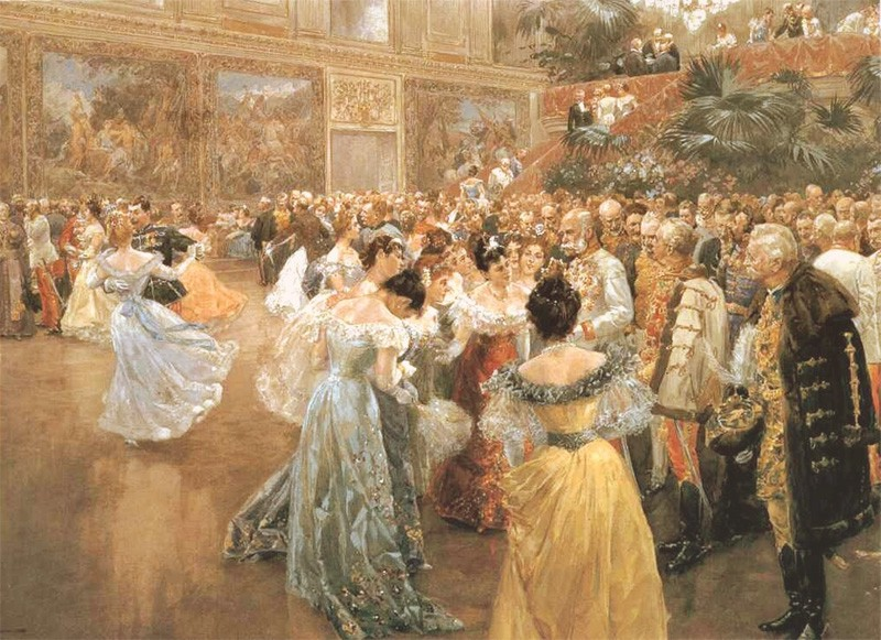 Ballroom filled with ladies in gowns waltzing, or standing around the emperor for a chat.
