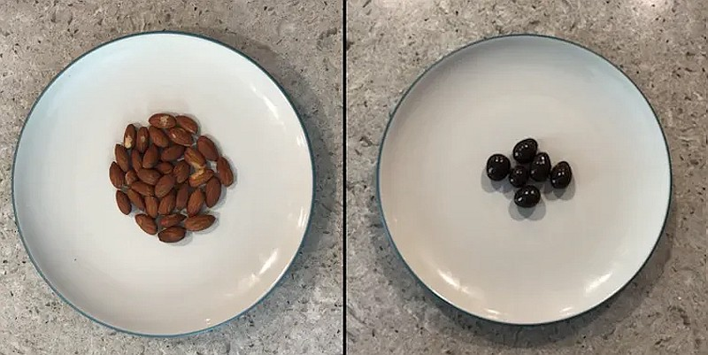 A plate of plain roasted and a plate of chocolate covered almonds
