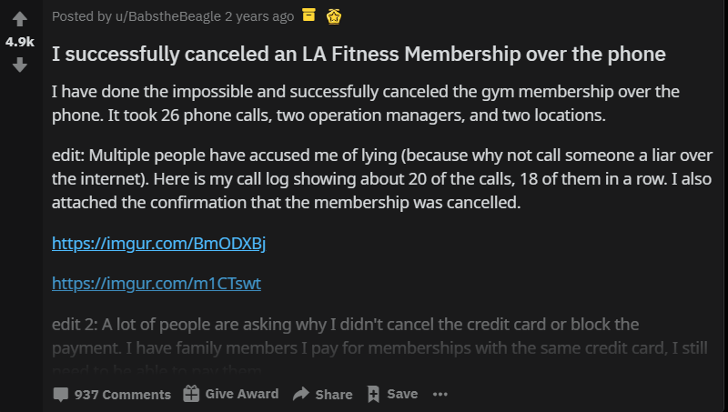 Funny AMA about successfully canceling an LA Fitness membership over the phone.
