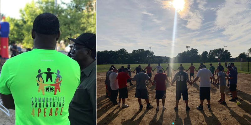 A community worker in a communities partnering for peace t-shirt, and a circle of men holding hands on a baseball field.