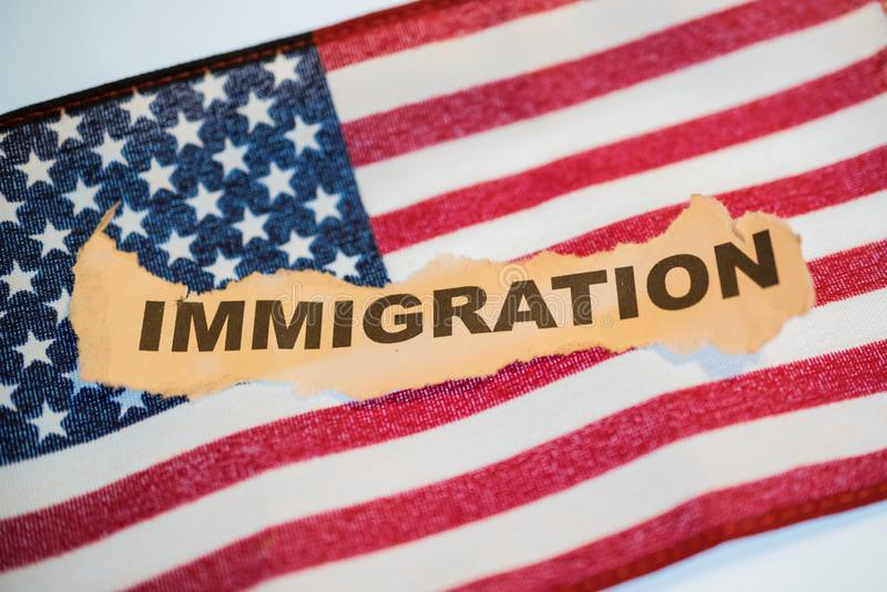American Flag with the words immigration written on it