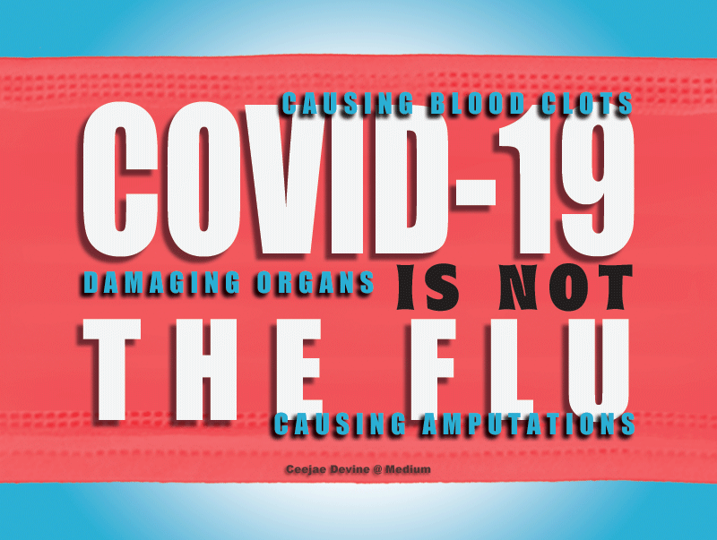 """""""Covid-19 is not the flu"""" superimposed over red mask with three statements from list at top of essay floating around them."""