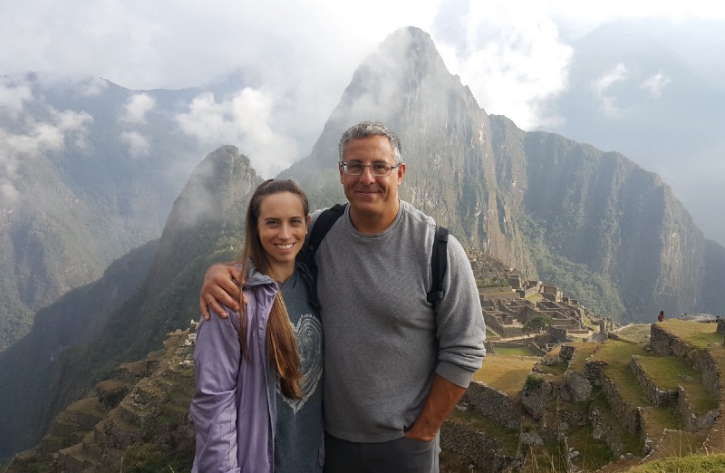 Standing with my fiance at Machu Picchu