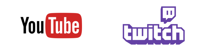 Video Broadcasting—Youtube and Twitch icons
