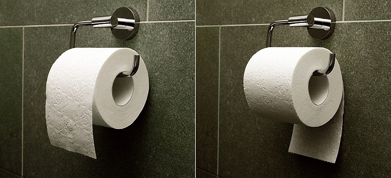 Toilet rolls placed in 'over' and 'under' positions