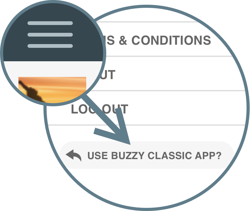 Image showing the navigation drawer icon and the Buzzy Classic toggle button