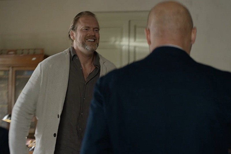Screenshot from the programme, showing the director's joy at Montalbano's decision
