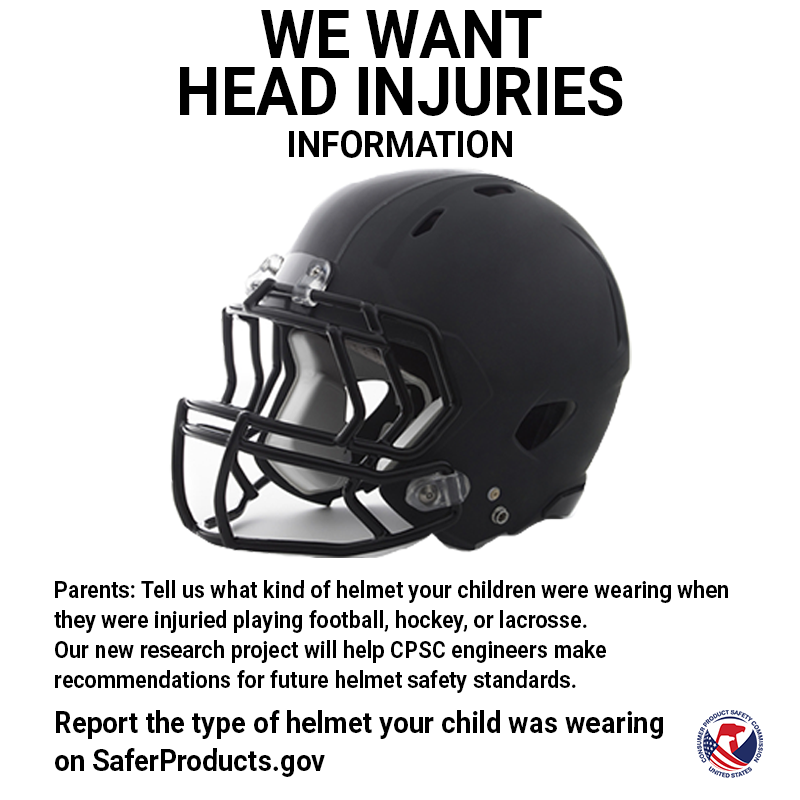 """A football helmet with the words """"We want head injuries (information) above."""