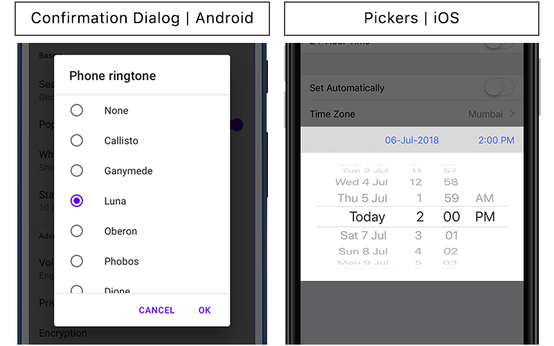 Nomenclature of mobile app visual elements — Android vs iOS
