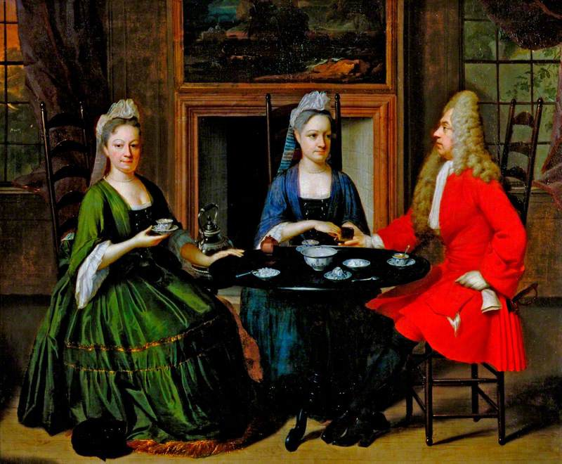 18th c. woman sitting with tea alongside one man and one woman