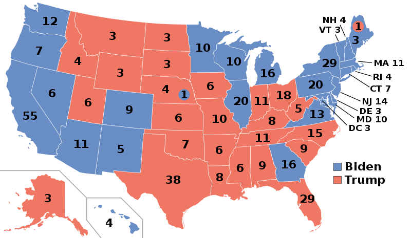 Map of the 2020 presidential election result.