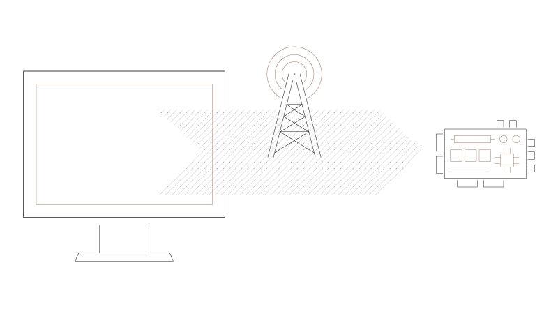 A graphic of a screen and a network cell tower moving to a device