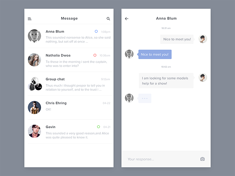 Chat/Messaging UI Inspiration - Muzli - Design Inspiration